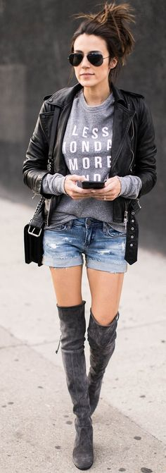 #fall #trending #outfits | Biker Jacket + Graphic Sweater + Denim Shorts