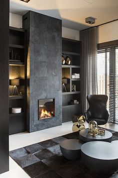 Residential interior design with a luxury / industrial combination, all custom made. Home Fireplace, Modern Fireplace, Fireplace Design, Fireplaces, Living Room Interior, Home Living Room, Living Room Designs, Living Room Decor Elegant, Residential Interior Design