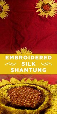 Red Silk Shantung with Embroidered 3D Sunflowers #Apparel #Unique #Flowers