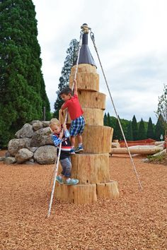 Rope helps kids climb up and down the log climbers.