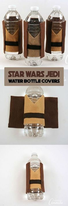 Star Wars party wouldn't be complete without water bottles decked out in Jedi robes! These Jedi Water Bottle Covers are great for a release day party or birthday party! Star Wars Party, Theme Star Wars, Star Wars Food, Star Wars Wedding, Star Wars Kids, Lego Star Wars, Star Wars Pinata, Birthday Gift For Him, Star Wars Birthday