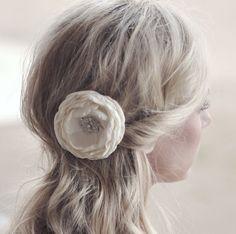 Ivory Wedding Flower For Hair - Bridal Hair Accessories - Flower Hair Clip - Headpiece - Facinator