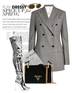 """The classy spy."" by vri0t ❤ liked on Polyvore featuring Calvin Klein 205W39NYC, Bee Charming, Prada and Linda Farrow"