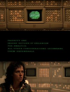 MOTHER gives the directive from Weyland-Yutani. Ripley realizes the horror. Alien (1979). This UI is imperative to Ripley's decision to kill the alien and abandon the Nostromo. #UI.