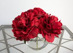 Classy Red Peonies in Round Glass Vase with by ChicagoSilkFlorist #RedPeonies