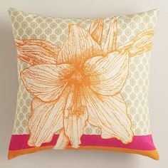 Coral Hibiscus Flower Throw Pillow   World Market sku500292