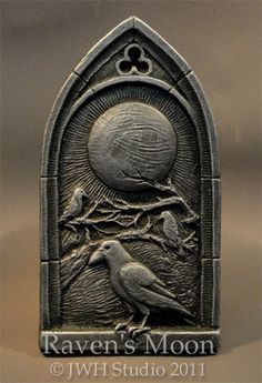 Raven's Moon wall plaque by Jay Hungate by HungateSculpture, $18.00