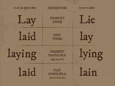 Lay and lie