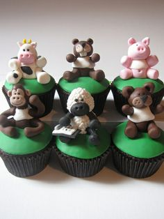 Animal Themed Birthday Cupcakes by clevercupcakes
