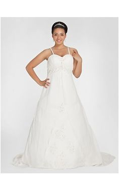 A-line Sweetheart Chapel Train Chiffon Plus Size Wedding Dress