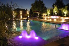 Swimming pool with glorious lighting - almost too beautiful to swim in!