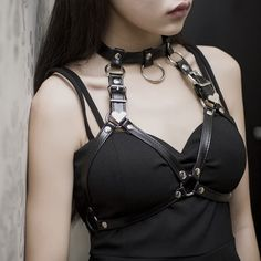 Sexy Women Punk Nightclub Halterneck Choker Gothic Leather Harness Body Bondage Cage Bustier Corset Sculpting Chest Waist Belt