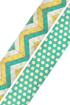 Retro Chic Collection, Turquoise & Gold Chevron/Dots Double-Sided Border Trim, 38 inches