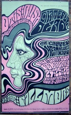 "Otis Rush Chicago Blues Band,  Grateful Dead, The Canned Heat  Blues Band  Fillmore Auditorium  Feb 24 1967  Poster 13.5"" x 22.25""  Wes Wilson, artist"
