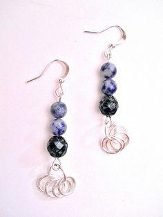 Denim Blue Dangle Gemstone Earrings by JustAspire on Etsy, $8.00