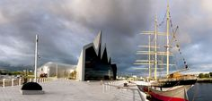 River Clyde in Glasgow featuring the Riverside Museum and Tall Ship
