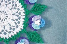 handmade round crochet doily with pansies and leaves  --  752   CraneCrochet - Crochet on ArtFire