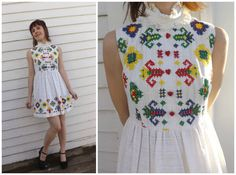 Mini Dress White Embroidered Vintage 70s Hippie by soulrust