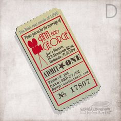 Wedding Invitation movie ticket / Bridal invitation/ Birthday / Baby shower invitation / FILE ONLY