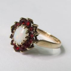 A fine vintage 9k yellow gold opal and red by Timehonouredtreasure, SOLD