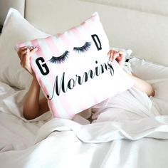 Good Morning Lashes Pillow. Click image to shop! www.shopmisswithit.com