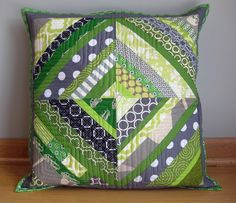 Pear Tree Stitching: Made Monday {Quilted String Block Pillow}