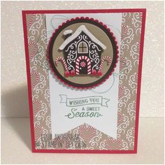 Candy Cane Lane DSP Gingerbread house Oh, What Fun Stampin Up Christmas card