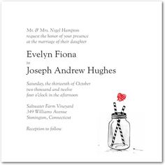 Signature White Textured Wedding Invitations - Rustic Jar: Black; also comes in pink-and-grey. ($179, back photo options included; optional extra 30 dollars total for printing return addresses on envelopes = 209)