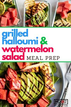 Grilled Halloumi and Watermelon Salad - A light and refreshing summer salad that comes together so quickly. Halloumi cheese is grilled to add some flavor, and then layered with sweet watermelon and creamy avocado. Lunch Recipes, Healthy Dinner Recipes, Low Carb Recipes, Vegetarian Recipes, Salad Recipes, Potato Recipes, Grilling Recipes, Summer Recipes, Pasta Recipes