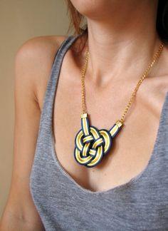 Knots & Bows — Gold & Navy Knot Necklace via Etsy