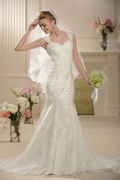 Brilliant Sweetheart Straps Trumpet/Mermaid Chapel Train Lace Wedding Dress