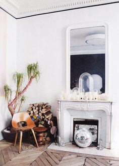 its a fire-y disco party. #fireplace #decor  via decorista
