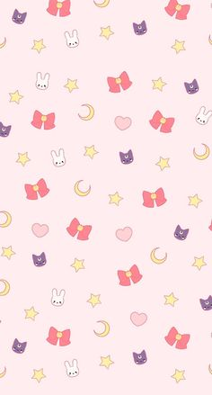 Sailor Moon phone wallpaper. Usagi, luna, the first brooch, stars, crescents, and hearts. Perfection~Visual. Direct. Internet.