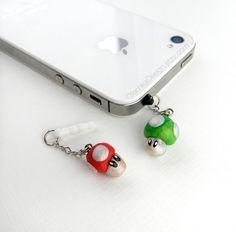 Super Mario Mushrooms iPhone Earphone Dust Plug $8.00