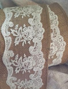 burlap and lace ribbon by ShyMyrtle Fantastic for country Weddings