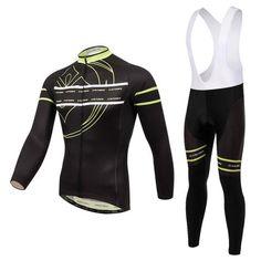 Men's Black Long Sleeve Cycling Jersey Set #Cycling #CyclingGear #CyclingJersey #CyclingJerseySet