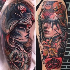 Tattoo artist Isnard Barbosa color and black neo traditional tattoo | Dublin, Ireland