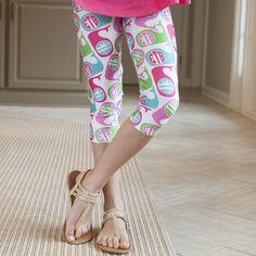 Girls Pink Green Whale INITIALS Arden Capri Leggings