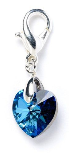 dffb0866365364 Bermuda Blue Swarovski Element Crystal Heart Clip on Charm  Amazon.co.uk   Jewellery