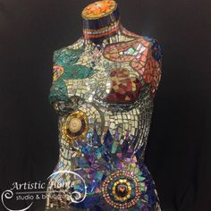 Mosaic mannequin created at Artistic Home Paint & Glass Studio in Alameda, CA.  Gorgeous mirrors, glass, beads and bling!