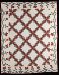 Double Irish Chain With Floral Applique Border Ohio C 1850 Shelly Zegart