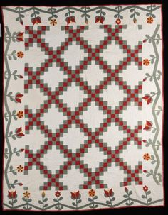 Double Irish Chain with floral applique border, Ohio, c. 1850.  Shelly Zegart collection