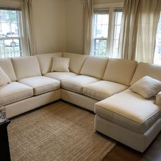 U Shaped Sectional Sofa, Comfy Sectional, Beige Sectional, Living Room Sectional, Tan Couches, L Shaped Couch, Living Room Green, Home Living Room, Living Room Decor
