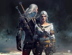 Geralt and Ciri is one the so-called key artworks for The Witcher 3 and shows both of our heroes in a heroic composition. This image is an official artwork