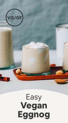 Incredibly rich, creamy vegan eggnog that's easy to make and perfect for the holidays! Baker Recipes, Gluten Free Recipes, Vegan Recipes, Dessert Recipes, Drink Recipes, Vegan Desserts, How To Make Eggnog, Coconut Milk Uses, Smoothies