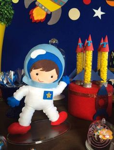 decoração festa no espaço Space Baby Shower, Baby Boy Shower, Boy Birthday Parties, 4th Birthday, Rocket Ship Party, Astronaut Party, Outer Space Party, Army Party, Space Theme