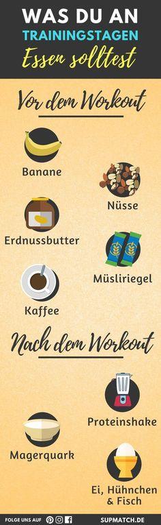 Was du an Traingstagen Essen solltest. Diese Lebensmittel sind ideal für vor und nach dem Training.
