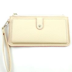 Amazon.com: New Arrival Snap Button Embellishment Solid Embossed Faux Leather Wrislet Wallet in Ivory Beige: Clothing $20.99