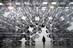"""Artist: Ai Weiwei Piles Bikes On Top Of Each Other. The Taipei Fine Arts Museum hosts a large-scale exhibition of the Chinese artist with his new work, """"Forever Bicycles. Ai Weiwei, Museum Of Fine Arts, Art Museum, Art Sculpture, Sculptures, Pimp Your Bike, Kunsthistorisches Museum, Instalation Art, Bicycle Art"""