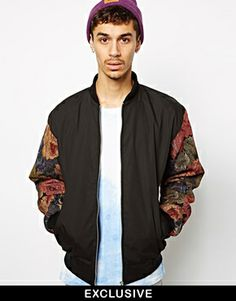 Reclaimed Vintage Bomber Jacket with Tapestry Sleeves